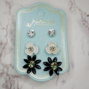 Black and white Trio earrings set
